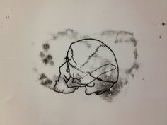 Monotype print of drawing of skull by Michael Fredman Artworks, Sculptures, Skull, Sketches, Tattoos, Drawings, Animals, Painting, Animales