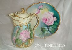 Stunning - Limoges - France - Chocolate - Coco - Pot - Hand Painted - Romantic Tea Roses - Only Fine Lines