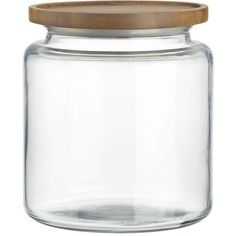 Crate & Barrel Montana 96 oz. Acacia and Glass Jar (28 AUD) ❤ liked on Polyvore featuring home, kitchen & dining, food storage containers, crate and barrel, lidded jar, glass jars e storage canisters