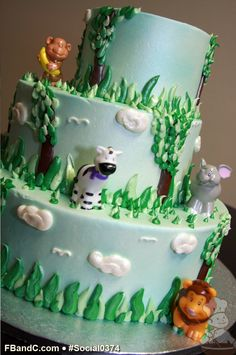 Our social Life Cupcake Cakes, Cupcakes, Safari Cakes, Jungle Cake, Specialty Cakes, First Birthday Cakes, Jungle Animals, Buttercream Cake, Cake Designs