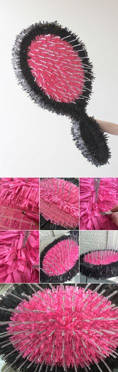 DIY hair pinatas - The House That Lars Built Barbie Birthday, Barbie Party, Birthday Diy, Pinata Party, Party Props, Party Themes, How To Make Pinata, Diy And Crafts, Paper Crafts