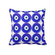 Turkish Nazar Evil Eye Design Throw Pillow