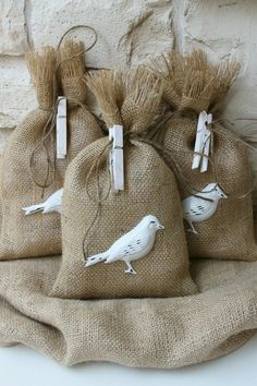 Charming burlap gift bags adorned with little distressed metal birds! Burlap Projects, Burlap Crafts, Sewing Projects, Craft Projects, Bird Seed Wedding Favors, Kids Crafts, Diy And Crafts, Burlap Gift Bags, Lavender Bags