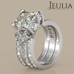 360 View of Interchangeable Princess Cut Created White Sapphire Rhodium Plated Sterling Silver Women's Ring