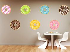 Sweeten up your walls with these frosted donut wall decals! This pack comes with 8 donut decals. We offer many sizes and custom sizes are also available on request. Monogram Wall Decals, Custom Wall Decals, House Rooms, Exterior Design, Room Decor, House Design, Coffee Shops, Interior, Pattern