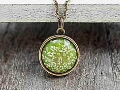 LIME GREEN Real dried flowers necklace