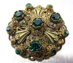 Green Enamel Rhinestone Filigree Brooch Pin by TonettesTreasures