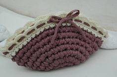 Crocheted clutch bag. Brown bag. by lindapaula on Etsy, €20.00