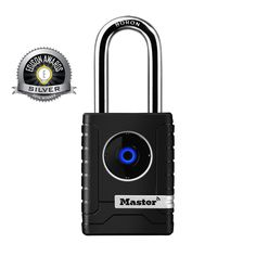 The Master Lock No. 4401DLH Bluetooth Padlock features a 2-7/32in (56mm) wide metal body for durability. The 11/32in (9mm) diameter shackle offers 2in (51mm) vertical clearance and is made of boron alloy, offering maximum resistance to cutting and sawing. The smartphone/app interface offers speed, ease of use, & greater control with the ability to share access, with keyless convenience. The locking mechanism features anti-shim technology, offering maximum security.