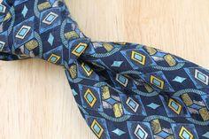$225+ Brioni Blue Black Gold Geometric Shape Pattern mens Silk Tie #Brioni #NeckTie