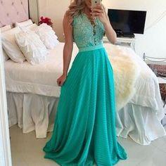 Blue Patchwork White Lace Cut Out Plunging Neckline Maxi Dress