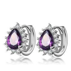Purple Cubic Zircon Hoop Earrings