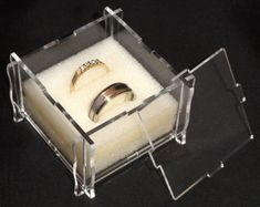 Personalised Laser Cut & Engraved Acrylic Wedding Ring Box. Foam Ring Insert