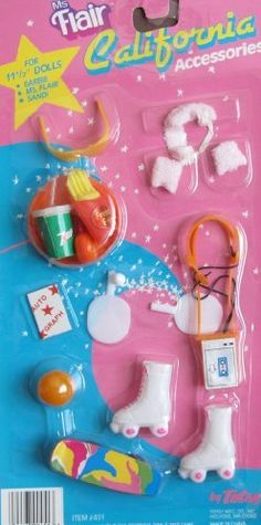 "Totsy MS Flair CALIFORNIA ACCESSORIES w 7 Up, Fries, Skates & MORE! Fits Barbie, Ms. Flair, Sandi & 11.5"" Fashion Dolls (Circa 1980?) by Totsy. $68.99"