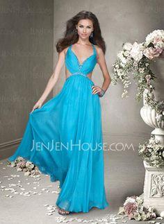 Abiballkleider - $142.99 - New Style A-Linie/Princess-Linie V-Ausschnitt Bodenlang Chiffon Charmeuse Abiballkleider mit Rüschen mit Perlen verziert (022004499) http://jenjenhouse.com/de/pinterest-g4499