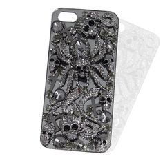 Bling iphone 5 Case, Cross Skull and Spider Cell Phone Cover, Rhinestone Swarovski Crystal iPhone Case, Halloween Gift-130384255. $27.99, via Etsy.
