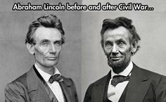 Two photos each of 10 Presidents: Before & After their service. Lincoln, before and after the Civil War. (photo) Whitman on Lincoln: I see the President almost every day . I see very plainly . American Presidents, American Civil War, American History, Civil War Photos, Us History, History Pics, History Memes, Interesting History, Before Us