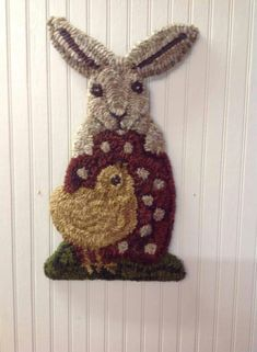 Rabbit and Chick. Looks like rug hooking, but would be cute in punch needle too.