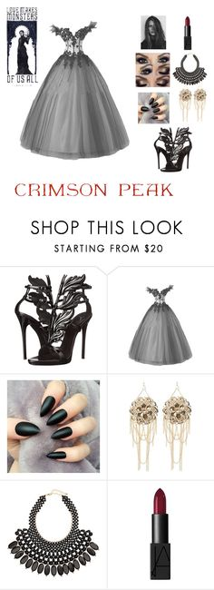 """""""Indulge Your Dark Side with Crimson Peak : Contest Entry"""" by lizsfashionfrenzy ❤ liked on Polyvore featuring Giuseppe Zanotti, Bebe, H&M, GE, NARS Cosmetics and vintage"""