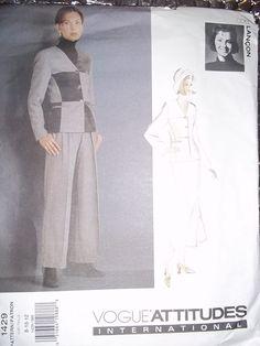 Vogue 1429 Misses flounce Skirt Pant semi fitted Jacket Vogue Attitudes Int Designer Lancon sewing pattern Misses size 8-10-12  uncut