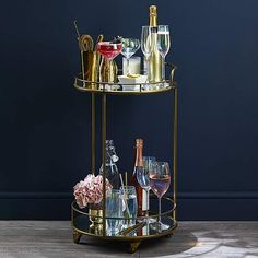 Pimlico Antique Brass Drinks Trolley | Dunelm