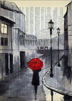 Red umbrella on a rainy day.....in Paris, London? - by Emanuel M. Ologeanu