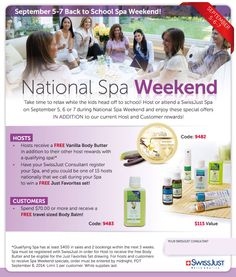 So excited for National Spa Weekend!! Last year my host earned over $200 in SwissJust products and half-off items! Do you want be part of it? I have a few dates left :) www.herbalspamama.com
