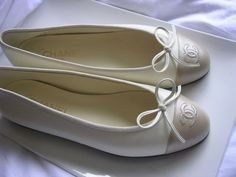 Authentic Chanel Bone Color Ballet Flat with Gold Toe Size 39 | eBay