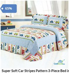Super Soft Car Stripes Pattern 3-Piece Bed in a Ba for more details visit http://coolsocialads.com/super-soft-car-stripes-pattern-3-piece-bed-in-a-ba-84649