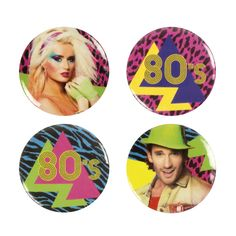 Festivalshop - Buttons Eighties set 4 st. Disco Party, Buttons, Products, Carnival, Oktoberfest, Gadget, Plugs