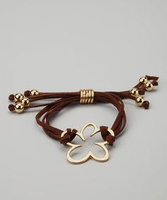 Farfan Jewelry Brown & Gold Flower Silk Bracelet