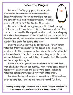 This is a penguin story with simple facts about penguin family life. It's a great passage to followup with close reading, comprehension and story writing activities.