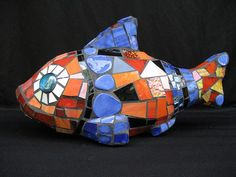 Recycled Garden Art – Whimsical Mosaic Menagerie – Moes Ache Studio – Mosaic Artist – Cappi Phillips – Bloomington, Indianapolis | Mosaic Art Source