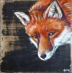 Vossenserie / Series of foxes 2 - 3 - à 14 x 14 cm   oud hout   schilderij   dieren   old wood   painting   animals