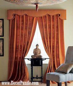 orange curtains designs 2015, luxury classic curtains and valance designs