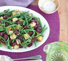 Annabel langbein beet, kumara and green bean salad recipe Salad Recipes Healthy Lunch, Bean Salad Recipes, Salad Recipes Video, Salad Recipes For Dinner, Healthy Fruits, Vegetarian Recipes, Healthy Food, Green Bean Salads, Green Beans