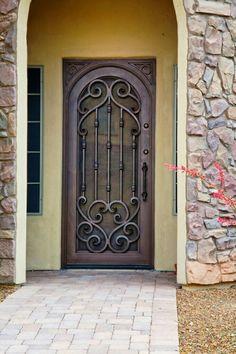Verona Inside Arch Style Door - First Impression Ironworks Grill Door Design, Front Door Design, Gate Design, Front Door Entryway, Entrance Doors, Steel Doors, Wood Doors, Wrought Iron Doors, Door Gate
