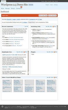 Wordpress 2.5 Dashboard. To be released on March 10th, 2008. My take on it.     #wordpress blogs