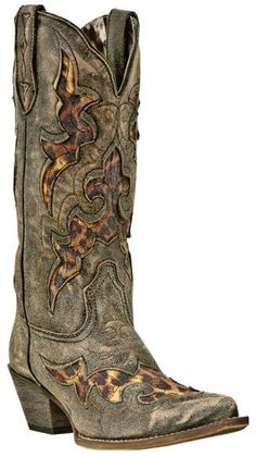Laredo Leopard Print Leather Inlay Cowgirl Boots - Snip Toe available at #Sheplers