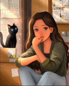 Cute Cartoon Girl, Cute Love Cartoons, Cool Anime Girl, Alone Art, Disney Icons, Cartoon Profile Pics, Funny Illustration, Illustrations, Digital Art Girl