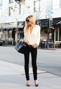 Black jeans with white shirt