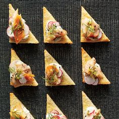 Best Party Appetizer Recipes: Smoked Trout Crostini with Radishes and Dill Cream