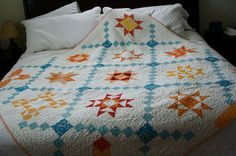 a quilt is nice:  Really nice use of color and negative space