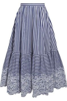 Designer Clothes, Shoes & Bags for Women Navy Pleated Skirt, Stripe Skirt, Long Skirt Outfits, Modest Outfits, Calf Length Skirts, Dress Skirt, Fashion Dresses, Clothes For Women, Midi Skirts