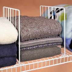 Set Of 4 Wire Shelf Dividers For Organizing Clothes And Closet Storage; I  Use This Type Of Divider All The Time On Solid Shelving And Am Glad To See  That ...