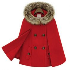 Women's Warm Double Breasted Cape Wool Fur Collar Coat  Sale: $46.92  49%off