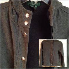 LAUREN - RALPH LAUREN PETITE - Medium This fashionable throw on hoodie/jacket is perfect for looking nice and feeling comfortable at the same time.  It zips and snaps to keep out the cold.  It's in LIKE NEW condition.  Machine Wash Cold - Tumble Dry Low Ralph Lauren Jackets & Coats