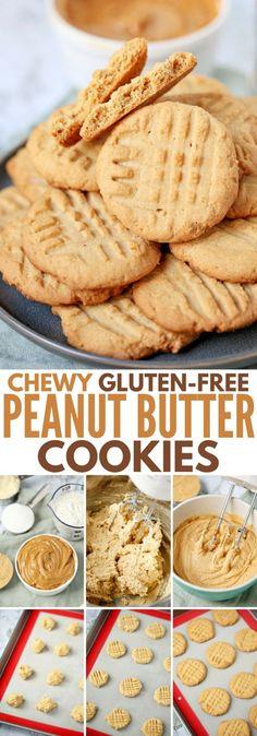 Gluten-Free Peanut Butter Cookies Chewy Gluten-Free Peanut Butter Cookies - Id never guess this easy recipe is gluten-free - its SOOO good!Chewy Gluten-Free Peanut Butter Cookies - Id never guess this easy recipe is gluten-free - its SOOO good! Cookies Sans Gluten, Dessert Sans Gluten, Gluten Free Cookie Recipes, Peanut Butter Cookie Recipe, Gluten Free Baking, Gluten Free Desserts, Dessert Recipes, Butter Recipe, Drink Recipes