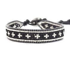 Chan Luu - Black Beaded Cross Single Wrap Bracelet on Natural Black Leather, $145.00 (http://www.chanluu.com/mens-bracelets/black-beaded-cross-single-wrap-bracelet-on-natural-black-leather/)