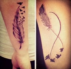 Flying Birds And Infinity Tattoo On Side